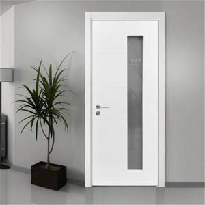 Glass FLush Inetrior Wooden door with White UV Lacquer Finishing for Apartment / Hotel / School / Villa