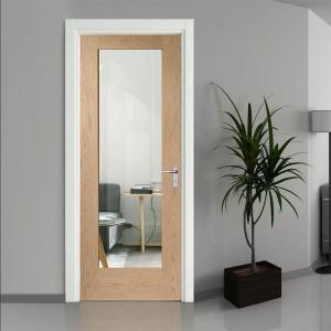 Belleville 1 Left Side Vertical Lite Modern Exterior Doors KD01A-G oak glass