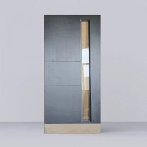 Mahogany Veneer Grey Color Lacquered Entrance Door